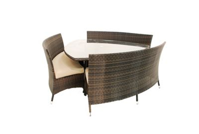 Maze Rattan Dallas 6 Seater Triangular Dining Set - Grey