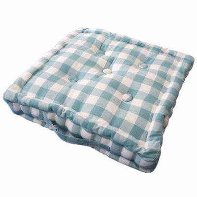 Homescapes Cotton Blue Block Check Floor Cushion, 50 x 50 cm