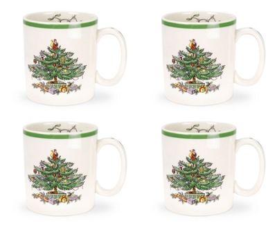 Spode Christmas Tree Design 0.25L Mugs, Set of 4
