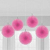 Pink Hanging Fan Decorations - 15.2cm