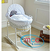 Wicker Moses Basket With Mattress, Cover and Rocking Stand (Teddy)