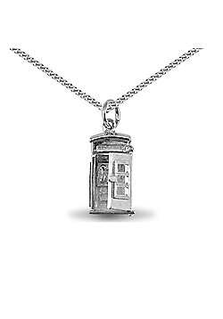 Jewelco London Sterling Silver telephone kiosk Charm Pendant - 18 inch Chain
