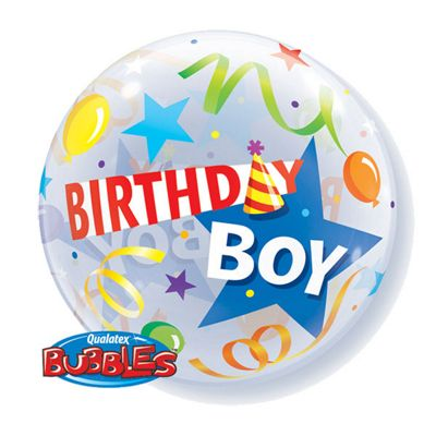 Birthday Boy Party Hat Bubble Balloon - 22inch