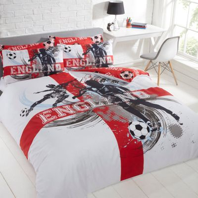Dreamscene England Football Duvet Cover with Pillowcase Bedding Set, Red Single