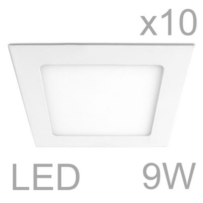 Pack of 10 MiniSun Celica Square 9W LED Downlight Panels, Warm White