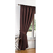 Dreamscene Luxury Faux Silk Blackout Curtains Ready Made Pencil Pleat Lined Free Tiebacks - Brown