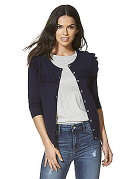 F&F Frill Trim 3/4 Length Sleeve Cardigan with As New Technology - Navy