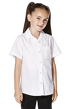F&F School 2 Pack of Girls Revere Collar Easy Iron Short Sleeve Shirts - White