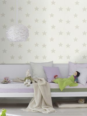Rasch Star Wallpaper Taupe and White 245608