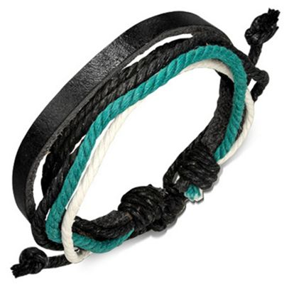 Men's Black Leather & Multi Coloured Cord Surfer Bracelet by Urban Male