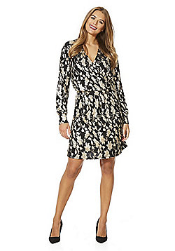 Vero Moda Floral Foil Wrap Dress - Black