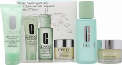 Clinique 3-Step Skincare Gift Set 50ml Liquid Facial Soap Extra-Mild + 100ml Clarifying Lotion 1 Very Dry to Dry + 30ml Dramatically Different