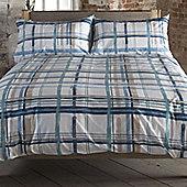Brush Check Blue, Natural Single Bedding 100% Cotton