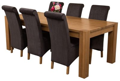 Kuba Chunky 220cm Kitchen Solid Oak Dining Set Table + 6 Black Fabric Chairs