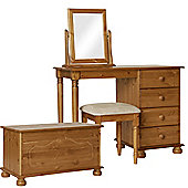 Nordic Pine Dressing Table, Stool, Mirror, Ottoman Package