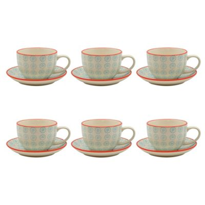 Patterned Porcelain Cappuccino Cups and Saucer Set - Turquoise / Red Swirl - 250ml - Set of 6