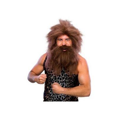 Rubies - Caveman Wig & Tash Set - Brown