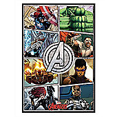 The Avengers Gloss Black Framed Comic Panels Poster
