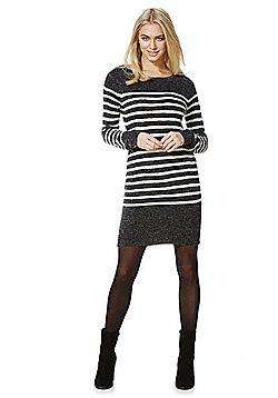 Jacqueline De Yong Cloud Striped Jumper Dress - Grey