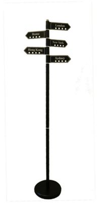 Coat Stand - Famous Cities Signpost - Black