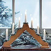 Battery Wooden Candle Bridge with 7 Warm White LEDs