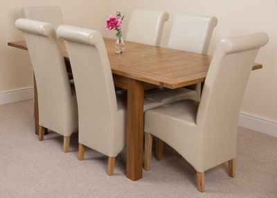 Cotswold Rustic Solid Oak Extending 132 - 198 cm Dining Table with 6 Ivory Montana Leather Chairs