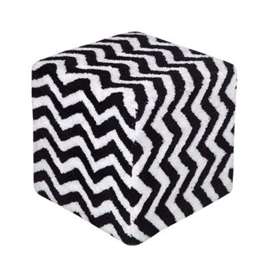Homescapes Tufted Cotton Cube Pouffe Black and White Chevron Pattern, 36 x 36 x 38 cm