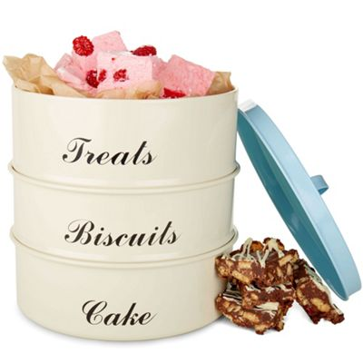 Andrew James Vintage Sweet Tooth Stack Cake Tin Set - 3 Storage Containers & Lid - Cream