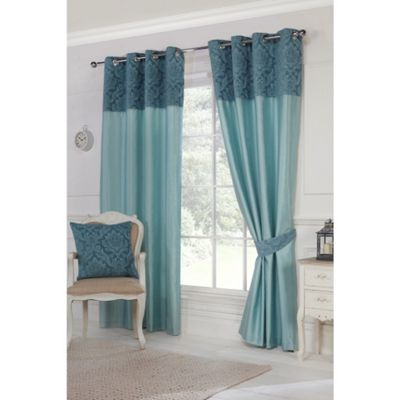 Hamilton McBride Darcy Lined Ring Top Teal Curtains - 46x54 Inches (117x137cm)