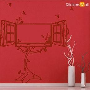 Window Photo Frame Wall Sticker, Burgundy