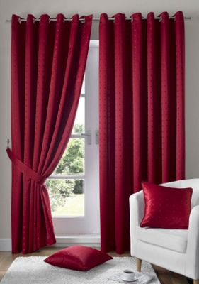 Alan Symonds Madison Red Eyelet Curtains - 66x54 Inches (168x137cm)