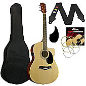 Tiger Electro Acoustic Guitar for Beginners - Natural