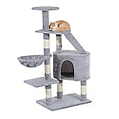 PawHut Cat Tree Kitten Scratching Post Play House Pet Furniture 125cm (Grey)