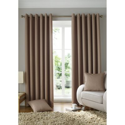 Alan Symonds Lined Solitaire Latte Eyelet Curtains - 90x72 Inches (229x183cm)