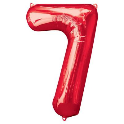 Red Number 7 Balloon - 34 inch Foil