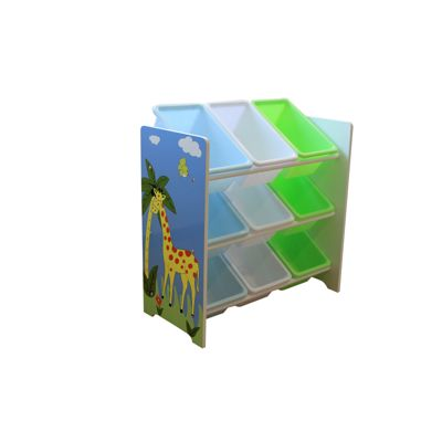 Liberty House Safari Storage Shelf with 9 Plastic Bins