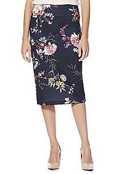 F&F Floral Print Scuba Pencil Skirt - Navy