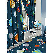 Solar System Lined Curtains - Blue