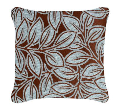 Blue And Maroon Floral Leaf Design Chenille Cushion