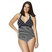 Mamalicious Striped and Polka Dot Halterneck Maternity Swimsuit - Navy