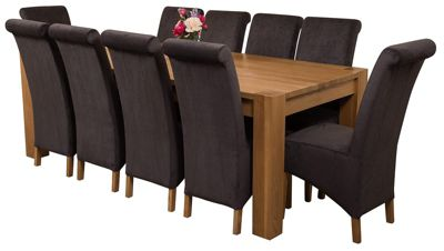Kuba Chunky 220cm Kitchen Solid Oak Dining Set Table + 10 Black Fabric Chairs