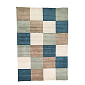 Infinite Inspire Squared Teal/Duck Egg Rug - 80x150cm