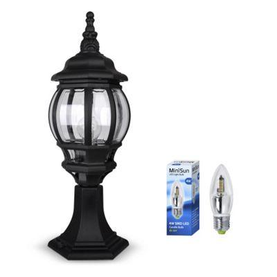 Windsor IP44 Outdoor Post Top LED Lantern in Black