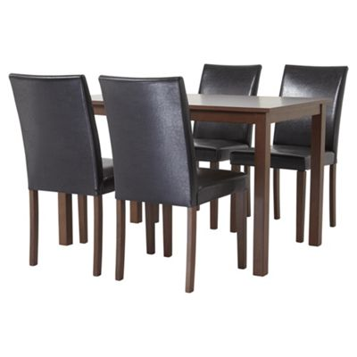 Claydon Dining Table and 4 Chair Set, Walnut and Chocolate