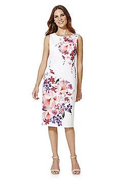 F&F Floral Print Scuba Pencil Dress - Ivory