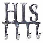Homescapes Metal Silver Coat Rack - HIS 4 Wall Hooks