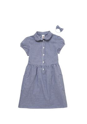F&F School Ruffle Collar Gingham Dress with Bow Hair Band Navy/White 5-6 years