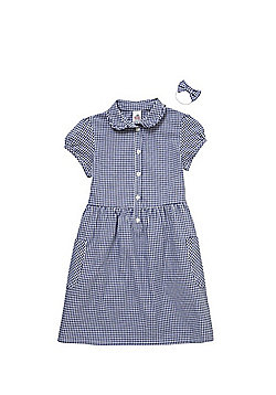 F&F School Ruffle Collar Gingham Dress with Bow Hair Band - Navy/White