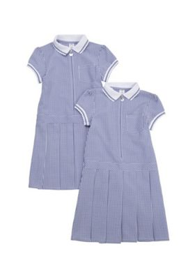 F&F School 2 Pack of Permanent Pleat Gingham Dresses Navy/White 3-4 years