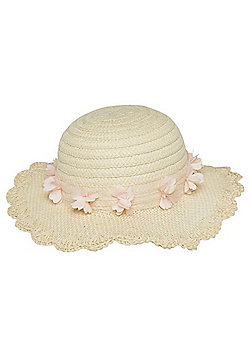 F&F Flower Band Wide Straw Hat - Natural